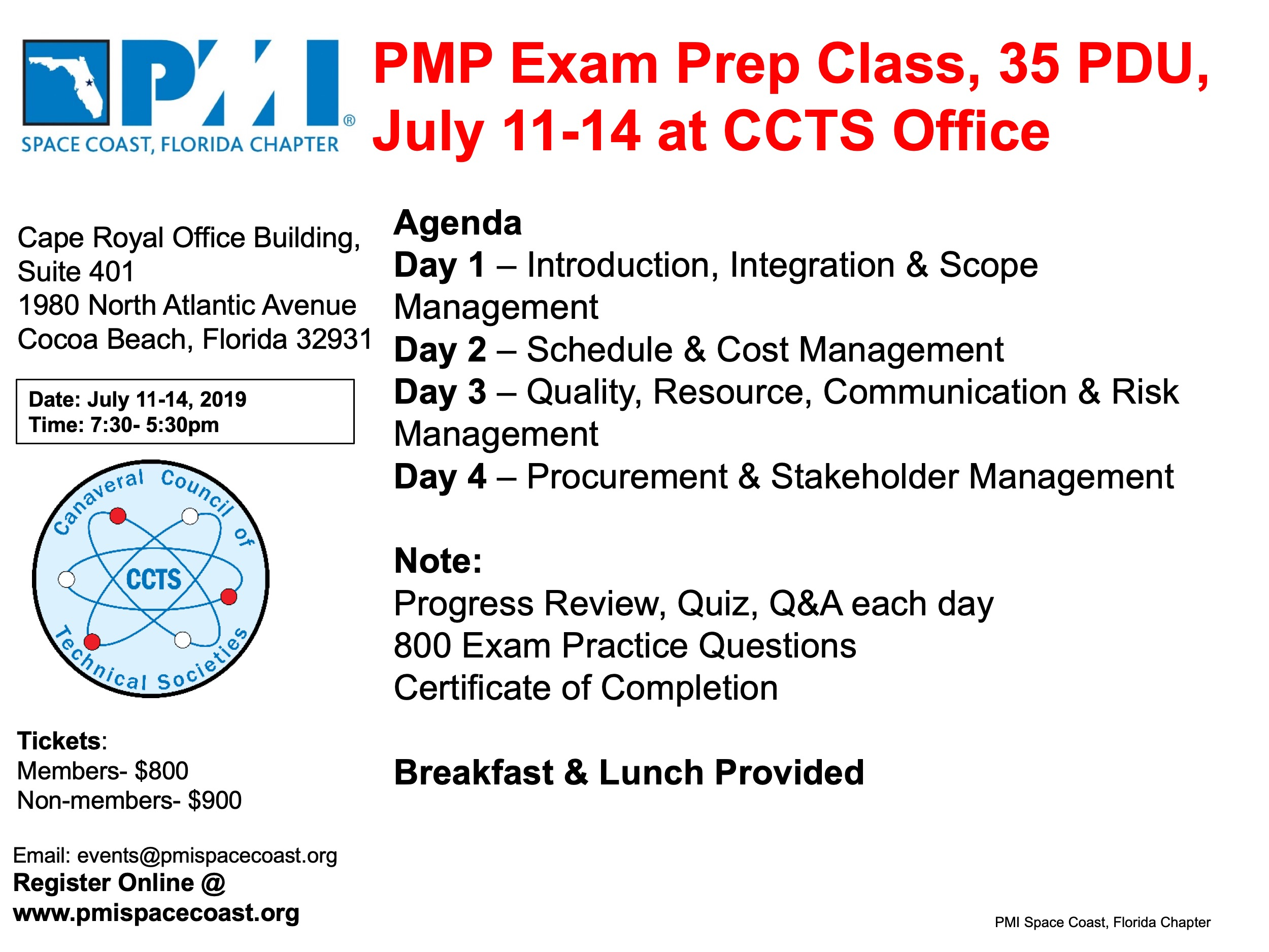 PMP Exam Prep Class / CANCELED-General Events