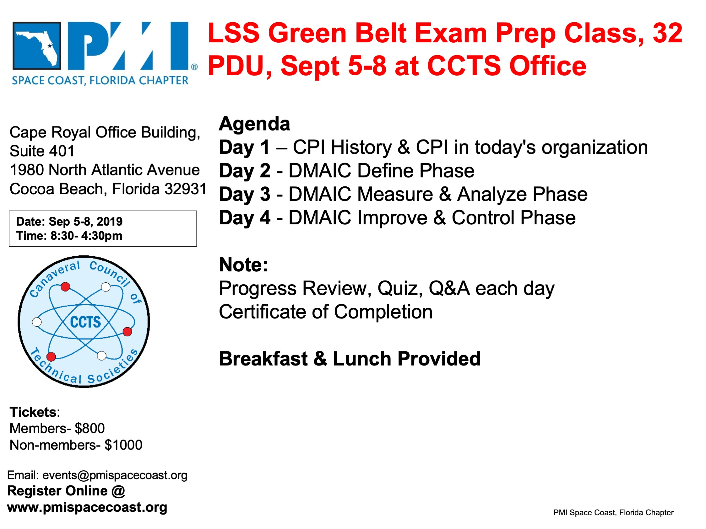 PMI SCFC 2019 Sep LSS GB Class Flyer 1