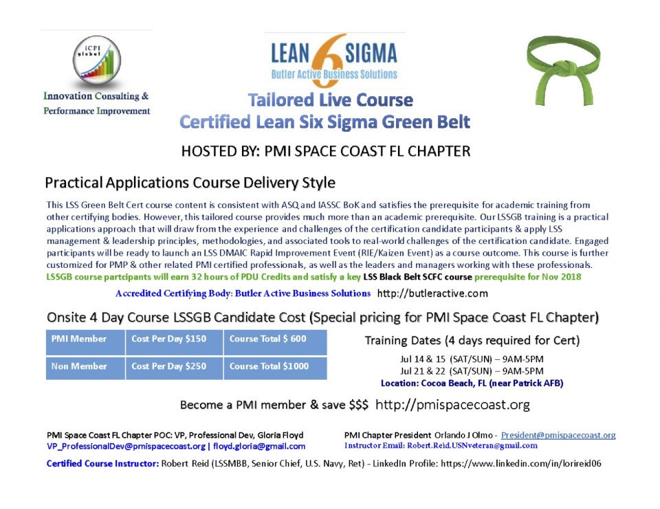 Lean Six Sigma Green Belt Course 4 Days Class Postpone General Events